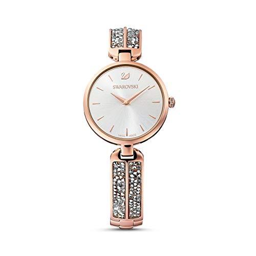 Swarovski Reloj Dream Rock, brazalete de metal, tono plateado, PVD tono oro rosa