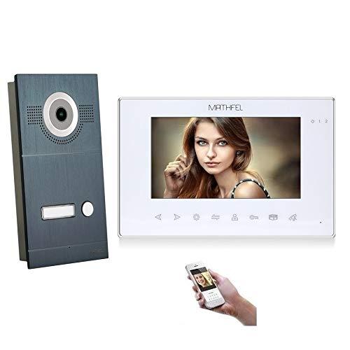 4 Draht Video Türsprechanlage Gegensprechanlage Fischaugenkamera 170 Grad, HD Auflösung WLAN, Anthrazit Außenstation, Monitore in weiß, Farbe: 1x7'' Monitor in weiß