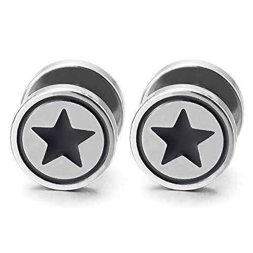 Hombre Mujer 10MM Círculo Estrella Pendientes con Negro Esmalte, Acero Enchufe Falso Fake Cheater Plugs Gauges