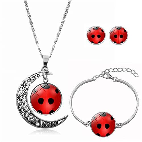 WDBUN Collar Colgante Joyas Comic Ladybug Time Gemstone Moon Collar Set Pendiente Pulsera Joyería Navidad cumpleaños Regalo(Imagen Personalizable)