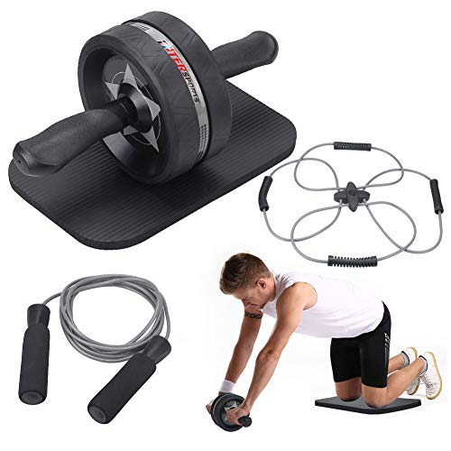 EnterSports Ab Roller Wheel, 4 in 1 Ab Roller Kit with Knee Pad, Multifunctional Resistance Band, Jump Rope, Perfect Home Gym Equipment for Men Women Abdominal Exercise