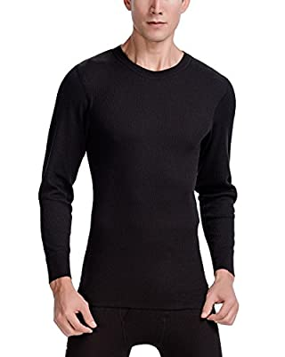 CYZ Men's Thermal Long Sleeve Crew Top-Black-L