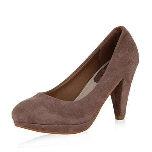 SCARPE VITA Klassische Damen Pumps Office High Heels Leder-Optik Schuhe 165497 Stone 39