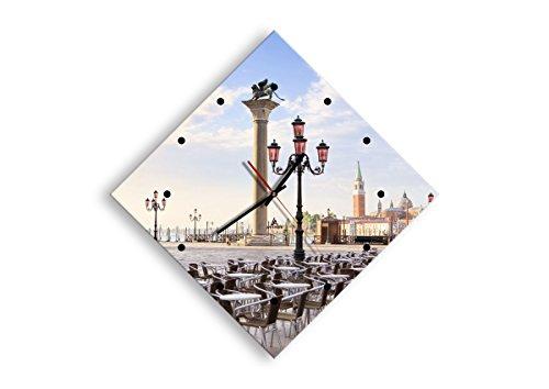 Horloge Murale - Losange - Horloge en Verre - Pendule murales - 57x57cm - 2553 - Mécanisme d'écoulement - Silencieux - prete a Suspendre - Moderne - Décoration - Pret a accrocher - C2AD40x40-2553