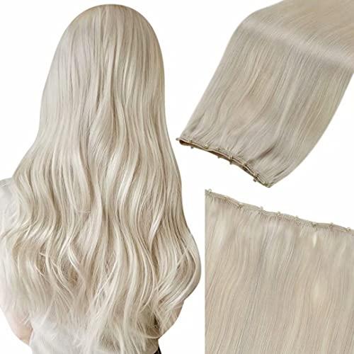 LaaVoo Microbead Weft Human Hair Extensions Ice Blonde Micro Weft Natural Hair Extensions Blonde Micro Bead Weft...