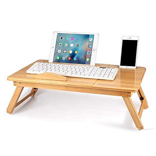 Bamboo Notebook Table, Folding Laptop Desk, Dorm Desk, Bed Desk Serving Tray Breakfast Table Coffee Tea Table Standing Desk for Bed and Sofa, Bamboo Laptop Stand with 5 Tilting Top Angles & Drawer