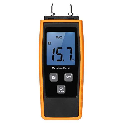 WYZXR Handheld Mini Moisture Meter Digital LCD Lumber Damp Meter Wood Moisture Detector Humidity Tester for Timber Wood Drywall Plants Sheetrock Brick Mortar Concrete with 2 Pin Probe Range 0%~80%