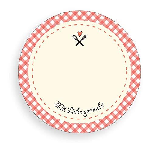 TYPOGRAPHUS 150 selbstklebende Etiketten zum Beschriften   Mit Liebe gemacht   karo rot - rund 50 mm - Ablösbare Papieraufkleber für Gläser, Marmelade, Einmachgläser (karo rot)