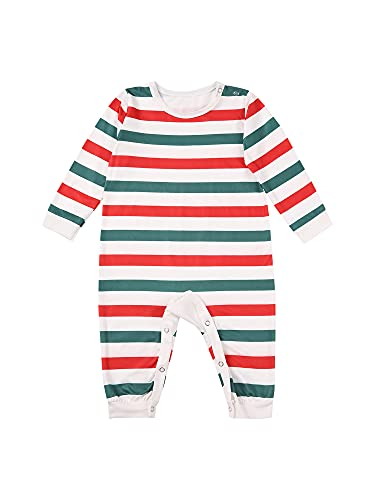 Family Pajamas Set Parent-Child Loungewear Red&Green Stripe Long Sleeve Tops Full Length Trousers with Jumpsuit for Baby (Stripe Baby, 3-6 Months)