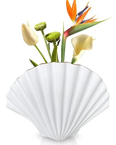 VASHDE Vaso Fiori - Bianco Conchiglia Vaso per Fiori, Vasi Decorativi Interno Moderni, Bordo Dorato Desige