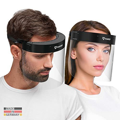 HARD professionelles Gesichtsschild mit 2 Wechsel-Visier Zertifiziertes Gesichtsschutz Gesichtsvisier anti beschlag, Face Shield Made in Germany - Schwarz