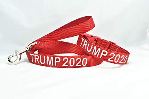 TRUMP 2020 or TRUMP 2024 Custom Embroidered DOG COLLAR AND LEASH SET in All Sizes, Handmade in USA