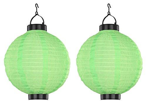 2er Set LED Solarleuchten Lampion grün, Gartenlampen zum Aufhängen Ø 25,5cm, Globo Lighting