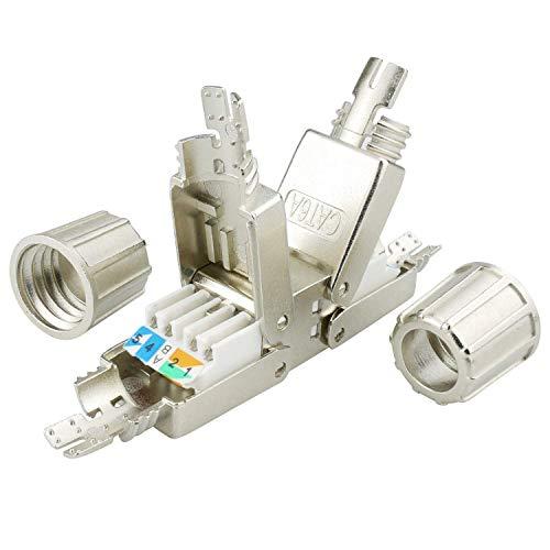 AIXONTEC Cat.6A LAN Netzwerk Verbindungsmodul Koppler LSA Adapter für Cat.7 LAN Ethernet Kabel geschirmt Netzwerk Verbinder mit metallischer Kabelverschraubung geeignet für CAT 6 cat. 6a (1)