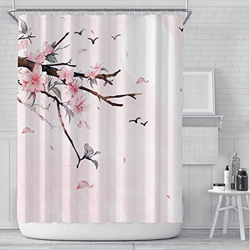 LEIhhdy 180 * 180 cm Mädchen Badezimmer Wasserdicht Polyester Tuch Display Rosa Kirschblüte Pfirsichblüten Duschvorhang Weißer Hintergr&