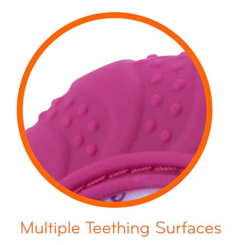 Nuby Soothing Teething Mitten with Hygienic Travel Bag, Pink, 1 Count