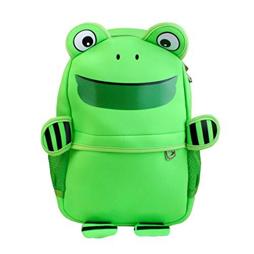 Emartbuy Kinder Süß Clever Rucksack Schule Kindergarten Reisetasche - Frosch Grün