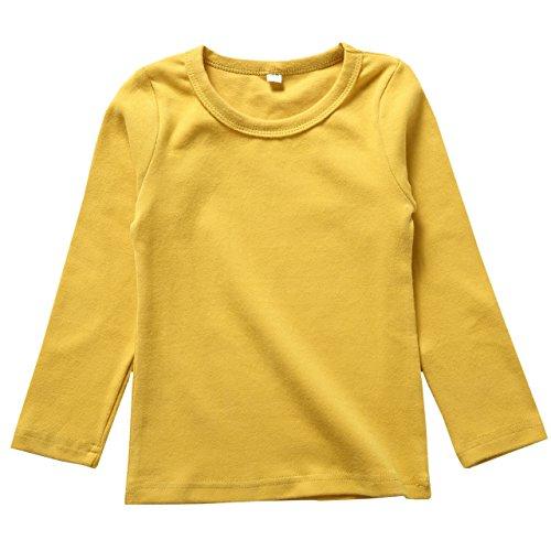 リリィ クプラウ 長袖Tシャツ ラウンドネック 無地 キッズ 110 イエロー