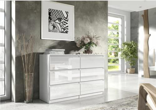 3xEliving Elegante, capiente cassettiera Demii 6 cassetti 120cm, colore bianco/bianco lucido, perfetta per il soggiorno, l'ufficio, la camera da letto, dimensioni 120 x 38 x 78cm
