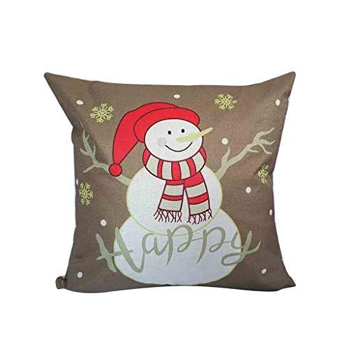 Hohaski 1 Piece Set Christmas Cotton Linen Decorative Pillow Cover Sofa Patio Cover, Christmas Ornaments Advent Calendar Pillow Covers Garland Tree Skirt Gift Bags DIY
