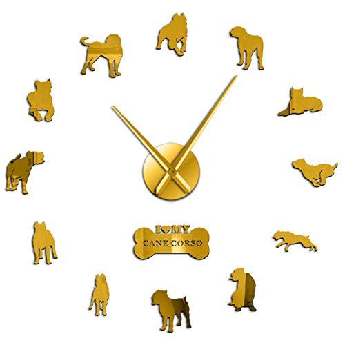 Reloj de Pared Cane Dog Raza de Mastín Diseño 3D DIY Etiqueta de la Pared Reloj Perro de Caza DIY Reloj de Pared Grande Decoración del hogar