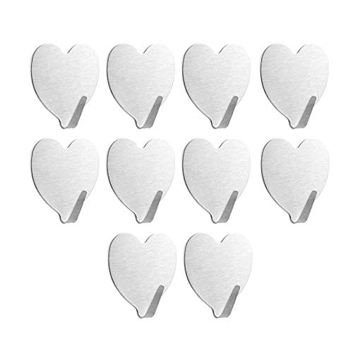 Self Adhesive Hooks,Heart Shape Stainless Steel Wall Hanger for Robe, Coat, Towel, Keys, Bags, Home, Kitchen, Bathroom,Waterproof, No Drill Glue Needed(10 Pack)