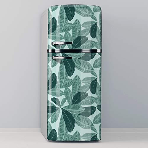 Vinilo Adhesivo Decorativo para Nevera, Especial Libre De Burbujas, Diseño Moderno De Plantas Vectoriales En Colores Verdes (70x185cm)