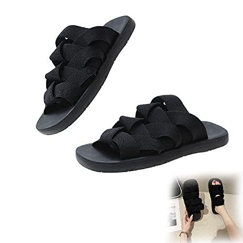 SITAILI Elastic Braided Slippers, Flat Cross Orthotic Slide Sandals, Non Slip Quick Drying Open Toe for Beach Outdoor Unisex (Black,39)