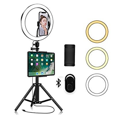 LED Ring Light with Phone Tripod Stand Kit - Yingnuost 10'' Camera Photography Video Recording Selfie Ringlight with Tablet Holder for iPad iPhone & Android Cell Phones by Yingnuost
