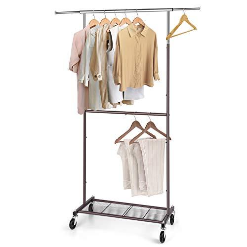 Simple Trending Standard Perchero de ropa, organizador de ropa con ruedas y estantes inferiores, extensible, chapado en cromo, Cromado, Large