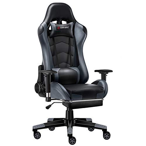 JL Comfurni Gaming Stuhl Bürostuhl mit Fußstütze Ergonomischer Computerstuhl Racing Lehnstuhl höhenverstellbar Schreibtischstuhl mit verstellbaren Armlehnen aus Kunstleder Grau