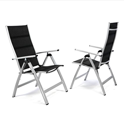 Nexos ZGC34480_SL02 2er Set Deluxe Klappstuhl gepolstert – Textilene Creme/Rahmen dunkelgrau - Gartenstuhl Liegestuhl – klappbarer Stuhl aus Aluminium & Kunststoff, Schwarz