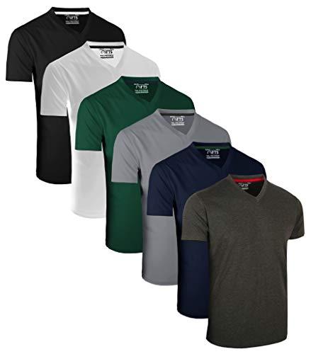 FULL TIME SPORTS 6 Pack Sortiert V-Ausschnitt Tech T-Shirts (1) Small