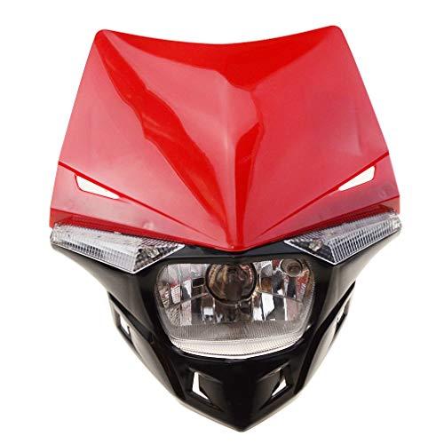 GOOFIT Faro Delantero Moto, H4 LED Universal 12V 35W Homologado Supermoto Motocross para Bicicleta Cafe Racer ATV Rojo