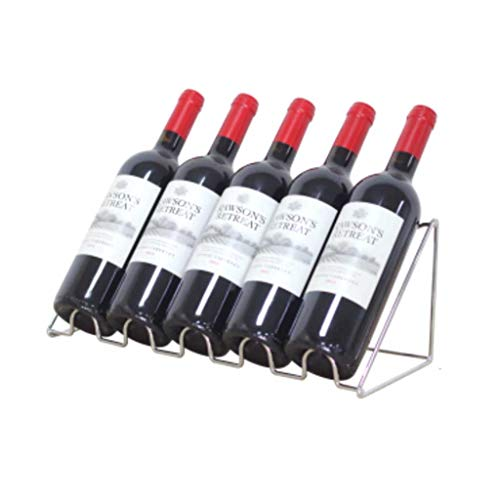 Botelleros Pantalla inclinable, decoración de Botella de Vino en la Barra del Bar, Estante de Hierro Forjado, Sala de Estar (Plateado)