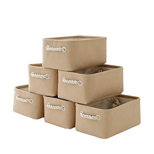 Storage Basket with Cotton Rope Handle, Collapsible Storage Bins Set Works As Baby Storage, Toy Storage, Nursery Baskets 6Pack (Beige)