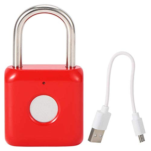 YLSZZTT Candado De Seguridad Antirrobo con Candado De Huellas Dactilares Sin Llave USB para Gabinete De Cajón De Caja De Distribución (Color : Red)
