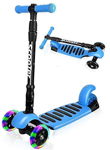 I·CODE Scooter for Kids, Premium 3 Wheel Kick Scooter with Anti-Slip Deck,Flashing Wheels,Lean to Steer for Toddler Girls Boys(3-10 Year)