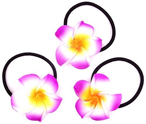 Made in zen Lot de 3 Élastique à Cheveux Fleur Hair Elastic Flower Tiaré Vahiné Tahiti Violet