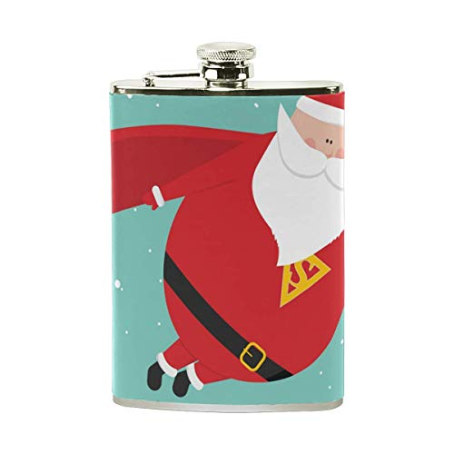 Fiaschetta in Acciaio Inossidabile Santaman Merry Christmas, Tasca Svasata, Vaso da Vino da Campeggio, Regalo per Uomo o Donna, 8 Oz