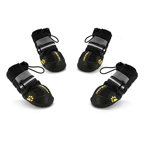 Hcpet Zapatos Perro, 4 Pcs Zapatos Antideslizantes para Perros con Resistente al Desgaste, Banda Interior Antideslizante y elástica Resistente para Mediano y Grandes Perros (8#)