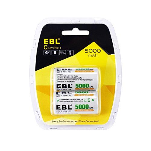 EBL Akku C 1,2V 5000 mAh Baby C Batterien NI-MH wiederaufladbar Batterien (2 Stück)