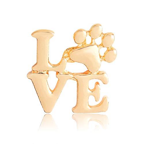 XKMY Broche para mujer con diseño de huellas de corazón y patas doradas para perro, diseño de gato