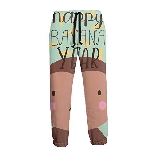 Mono y Letrero con Letras Happy Banana Year Hombres Pantalones Deportivos Pantalones de Chándal Suaves con Bolsillos Pantalones de Chándal para Entrenamiento de Gimnasio L