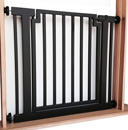 "Libro Dog Gate - 34""-39.5"" Wide; 32"" Tall - Indoor Pet Barrier, Walk Through Swinging Door, Extra Wide, Black. Pressure Mounted, Expandable. Walls, Stairs. Best Dog Gate."
