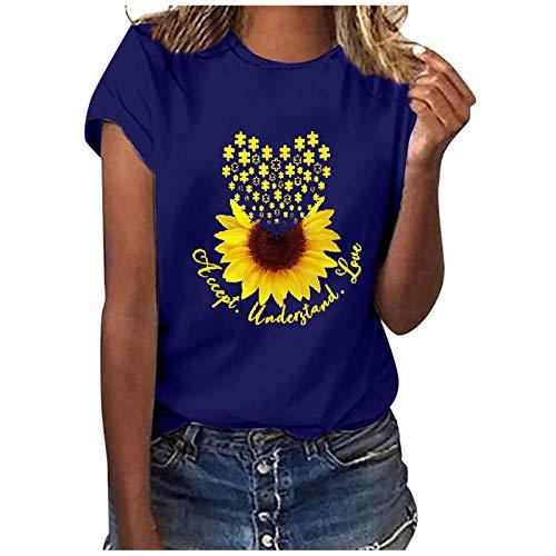 Janly Clearance Sale Blusa de verano para mujer con estampado de letras casual, manga corta, cuello redondo, para Pascua del Día de San Patricio (azul-3XL)