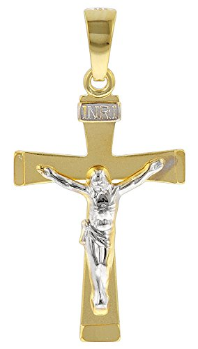 trendor Kruzifix-Anhänger für Herren 585 Gold Bicolor 29 mm Herren Goldanhänger, modischer Kreuzanhänger, Geschenkidee, eleganter Schmuck aus Echtgold 78803