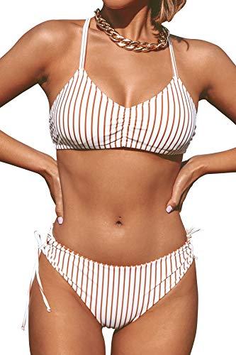 CUPSHE Damen Bikini Set mit Geflochtenen Trägern Streifen Bademode Reversible Bikinihose Zweiteiliger Badeanzug Braun M
