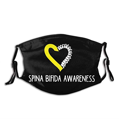 Spina Bifida AwarenFace Mask with Replaceable Filters Washable Skin-Friendly Fog Haze Proof Dust Bandanas Balaclava for Party Travel Black