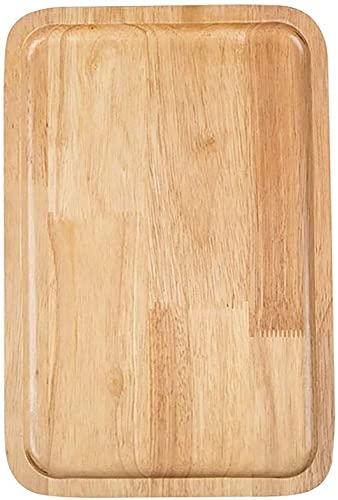 WBDZ Inicio Bandeja de bambú, Bandeja de Madera para Servir, Bandejas rectangulares para Servir, Bandeja para Servir cenas Grandes Bebidas Cumpleaños-Rectangular 42x28x2cm